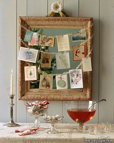 Always looking for ways to display Christmas cards!!  One more great way to use an empty frame.  :)