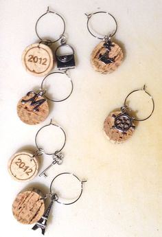 Wine Cork Wine Glass Charms  •  Free tutorial with pictures on how to make a glass charm in under 30 minutes #WineCharms