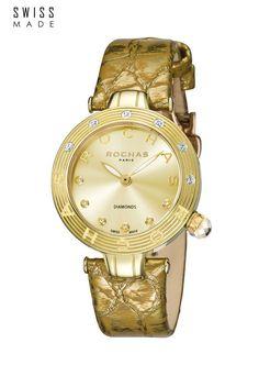 Ceas de dama, rotund cu o curea de piele, ROCHAS PARIS  - reducere 90% ! New Paris, Michael Kors Watch, Gold Watch, Rose Gold, Watches, Best Deals, Gifts, Accessories, Fashion