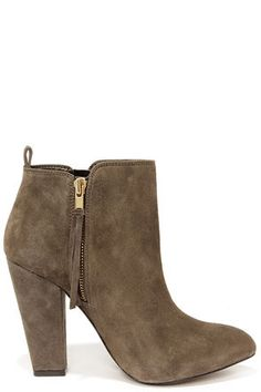 Steve Madden Jannyce - Taupe Boots - Suede Leather Boots - $149.00