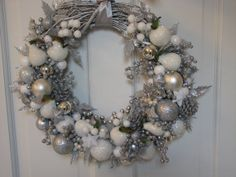 Glittery Large Silver and White Christmas Wreath, Sparkling Wreath, Holiday Wreath, Ornament Wreath, Silver Wreath