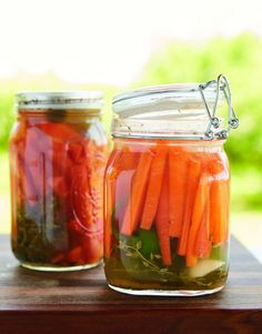 Thyme and Jalapeno Pickled Carrots from the Herbalists Kitchen are made the traditional way, through fermentation.
