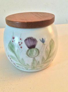 A small wooden lidded storage jar in Thistle Pattern by Buchan Portobello. Small Storage, Jar Storage, Portobello, Pots, Stoneware, Pottery, Hand Painted, Tableware, Ebay