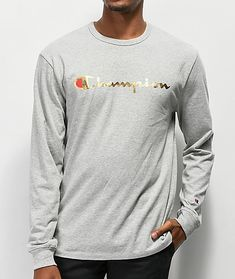 6d232a30f9f Champion Heritage Gold Grey Long Sleeve T-Shirt