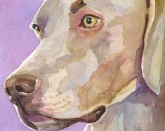 Braque de Weimar chien peinture impression éd. Ltd signé