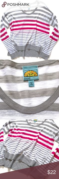 """C & C California Lightweight Striped White Sweater Great over a cami or as a lightweight swim cover up! Last photo is the same sweater but s different color as an example of fit only.  •Women's size M •62% Cotton, 39% Viscose  •20"""" across underarms, 23.5"""" from shoulder to hem  •Style # 83S13G11 •Retail $135 👋🏼 Make me an offer!  🥂 Thank you for shopping in my closet! xoxo Kate • C&C California Sweaters Crew & Scoop Necks"""