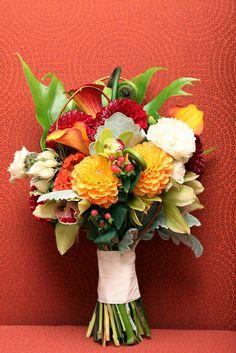 dahlias, calla lilies, coxcomb, fiddlehead-fern and cymbidium orchid   bouquet