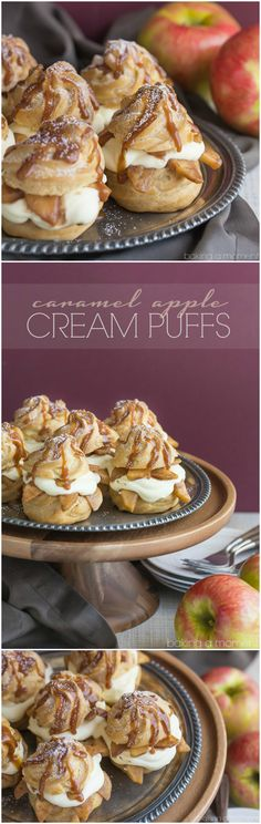 Caramel Apple Cream Puffs- Omg SO good! Loved the way the fluffy cream contrasts…