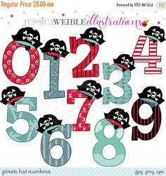 ON SALE Pirate Hat Numbers Cute Digital Clipart - Commercial Use OK - Pirate Clipart - Numbers with Pirate Hats, Pirate Theme