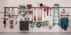 This page has pegboard organization and garage wall with Rubbermaid FastTrack.