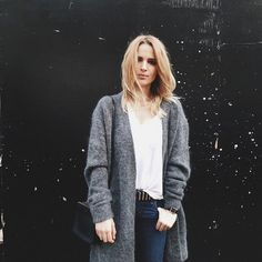 Pin for Later: 42 Fashion-Girl Ways to Style a White Tee Half-Tucked Into Jeans and Topped With a Cosy Open Cardigan
