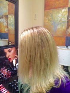 Goldwell blonde using silk lift, highlight 12 series, and express toner