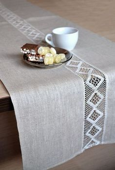 Linen table Runner wedding party table decor runner Rustic Runner Lace Table Decor Natural Linen Runner Cottage Table Runner Event runner - Table so runner table decoration with lace tablecloths linen runner Natural life In most of the hou - Linen Tablecloth, Table Linens, Lace Tablecloths, Elegant Table, Nature Decor, Cottage Chic, French Cottage, Shabby Cottage, Wedding Table