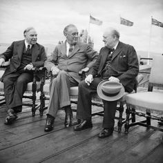 Canadian Prime Minister Mackenzie King, President of the United States of America Franklin D Roosevelt, and British Prime Minister Winston Churchill in conversation during the Quebec conference on 18 August 1943.