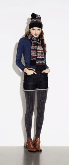 Autumn. not a fan of shorts and tights, but i love this look