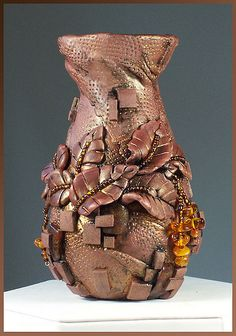 polymer+clay+vases | Hand-Sculpted polymer clay vase with amber | Flickr - Photo Sharing!