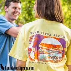 Look no further than Houndstooth Press for all of your sorority, fraternity, non-profit and organizational custom shirt design needs. Custom Screen Printing, Screen Printing Shirts, Printed Shirts, Alpha Shirt, T Shirt, Kappa Alpha Order, Rush Shirts, Fraternity Shirts, Custom Greek Apparel