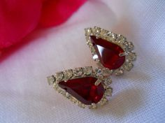 vtg 1970s / Red and Clear Rhinestone Studs Earrings by luvmetwice, $12.00