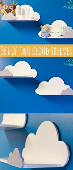 Set of two Cloud Shelf with small on the front, Shelves For Baby Nursery. For your children's toys, books or any other treasures :) #nursery #ad #cloudshelves