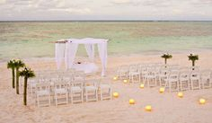 Ceremony tip: line your beach ceremony aisle with LED lanterns at sunset to create a romantic feel for your destination wedding like this one at Melia Caribe Tropical in Punta Cana. Beach Wedding Setup, Beach Wedding Bouquets, Beach Theme Wedding Invitations, Beach Wedding Centerpieces, Wedding Set Up, Destination Wedding Locations, Wedding Venues, Wedding Ideas, Wedding Resorts