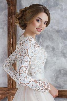 """Коллекция """"ODRI Love Voyage"""" - Канберра, свадебное платье с рукавом, персиковое свадебное платье, закрытая спинка в свадебном платье, wedding dress, wedding"""