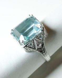 Art Deco Aquamarine and Diamond Ring in Platinum from greenhilljewelers on Ruby Lane