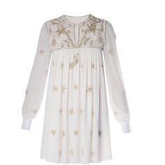 SAINT LAURENT Star-embroidered dress ($5,950) ❤ liked on Polyvore featuring dresses, ivory, glitter dress, ivory white dress, embroidered dress, white blouson dress and star print dress