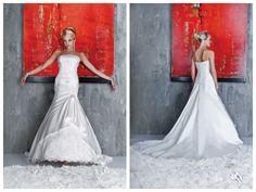 Satin Sleeveless Crystal Embellished Applique Mermaid Wedding Dress