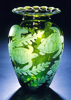 We have etched five Sea Turtles gracefully swimming through the seaweed on this vase. Cynthia Myers Etched and Sand Carved Art Glass PO Box Mendocino, CA Sea Turtle Art, Sea Turtles, Baby Turtles, Turtle Homes, Glass Engraving, Glass Etching, Etched Glass, Vases, Glass Design