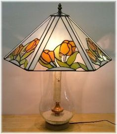 Yellow rose panel lampshade