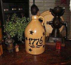 Primitive Antique Vtg Style 1776 Star Stoneware Jug Crock #NaivePrimitive