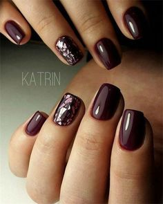 117 creative winter nail designs best patterns in 2019 23 - Nageldesign - Nails Shiny Nails, Chrome Nails, Plum Nails, Burgundy Nails, Maroon Nails, Dark Nails With Glitter, Nexgen Nails Colors, Dark Gel Nails, Deep Red Nails