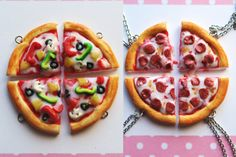 Pizza Friendship Necklace 2,3,4,5 or 6 friends- food jewelry, pizza necklace, bff necklace, friends necklace, friendship necklace