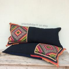 Vintage Ethnic Textile Decorative Throw Bolster Pillow Case by orientaltribe11 on etsy