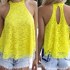Mujer Simple Encaje Tank Tops, Halter Un Color / Otoño Cheap Summer Outfits, Summer Outfits Women, Summer Clothes, Tops Halter, Backless Shirt, Loose Shirts, Loose Tank, Jumper, Lace Outfit