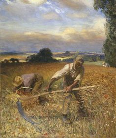 Sir George Clausen - A sunny day. Sir George Clausen - A Shady Corner Sir George Clausen - At the edge of the farm Sir Geor. Farmer Painting, Manchester Art, Farm Art, English Artists, Art Uk, Drawing People, Artist At Work, Landscape Art, Champs
