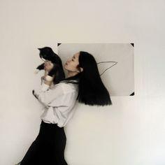 alone not alone: long black hair.