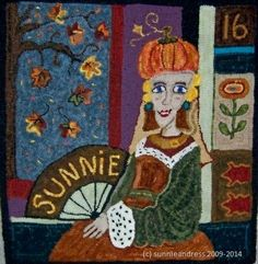 Autumn Apartment Sign...designed and hooked by Sunnie Andress