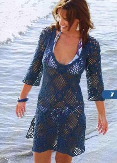 Navy Blue Openwork Top Coverup with Square Pattern Motif free crochet graph pattern