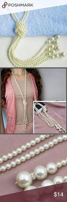 "Elegant White Women's Fashion Elegant Full White Imitation Pearls. Knot long 2 chains. Each 44"" length. Jewelry Necklaces"