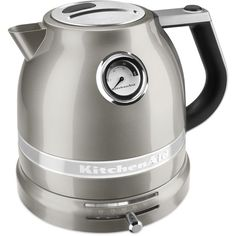 KitchenAid Pro Line KEK1522 Electric Kettle (€160) ❤ liked on Polyvore featuring home, kitchen & dining, small appliances, sugar pearl silver, sugar kettle, kitchen electrics, kitchen aid small appliances, kitchenaid kettle and tea kettle