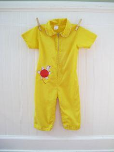 Retro Boy Clothes, Yellow One Piece, Turtle Applique, Size 18-24 months