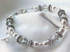 Awareness: Brain Cancer, Diabetes,or Asthma Bracelet w/ Swarovski #Handmade #Beaded