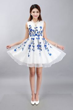 Chinese Traditional Style White Chiffon Dress With Blue Flowers Embroidery via Asia-Sale. Click on the image to see more!