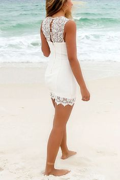 Bellaire Ivory Lace Detail Bodycon Cocktail Dress