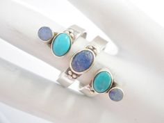 Sajen Ring, Sterling Ring, Turquoise Ring, Opal Ring, Lapis Ring, Sajen Sterling Silver Lapis Turquoise And Opal Wrap Ring Sz 9 #3041