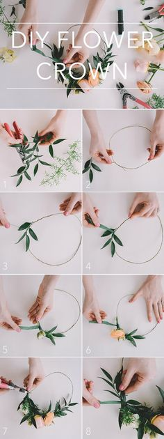 Wedding Flowers & Bouquets How to DIY a flower crown for your wedding day! Diy Flower Crown, Diy Crown, Diy Flowers, Flower Crown Hairstyle, Flower Girl Headpiece, Flower Wall, Paper Flowers, Bride With Flower Crown, Flower Crown Outfit
