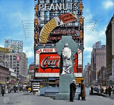 Time Square 1937, Father Duffy memorial. Colorized by Avi A. Katz