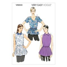 Vogue Misses'/Misses' Petite Top Pattern V9003 Size A50 from @fabricdotcom  Pattern is for size A5. <br><a href=https://s3.amazonaws.com/fabric-pdf/Vogue+Pattern+Backs/V9003back.pdf>Click here for pattern back.</a> <br>