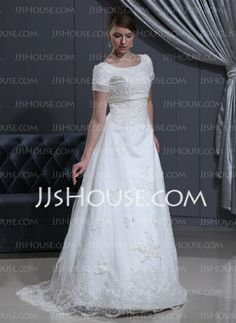 Wedding Dresses - $189.99 - A-Line/Princess Scoop Neck Sweep Train Satin Tulle Wedding Dresses With Lace Beadwork (002000311) http://jjshouse.com/A-Line-Princess-Scoop-Neck-Sweep-Train-Satin-Tulle-Wedding-Dresses-With-Lace-Beadwork-002000311-g311